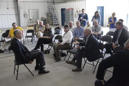 U.S. Senator Chuck Grassley answers questions at a Q&A event at the Southwest Iowa Planning Council in Atlantic.