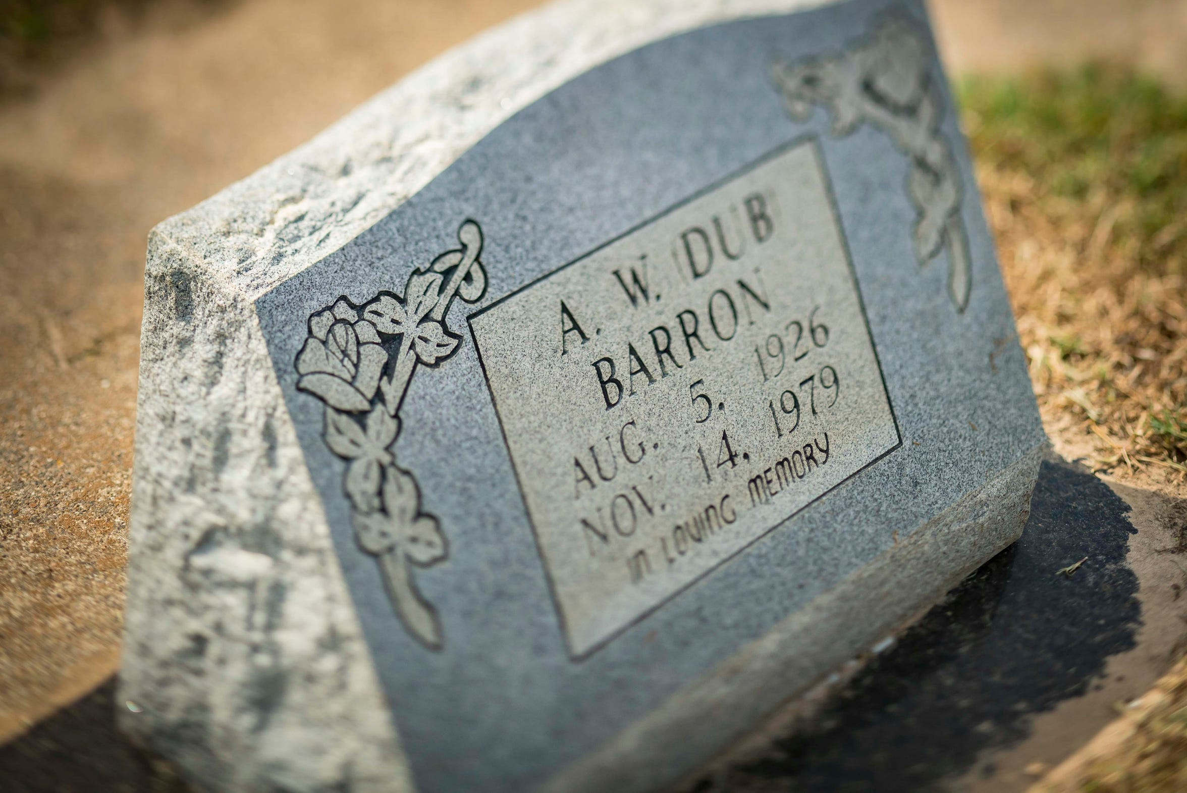 "A.W. ""Dub"" Barron gravesite in Bascom Cemetery near the town of Tyler in Smith County, Texas. Barron was shot by Jesse Scroggie in Sandpoint, Idaho, on Nov. 14, 1979."