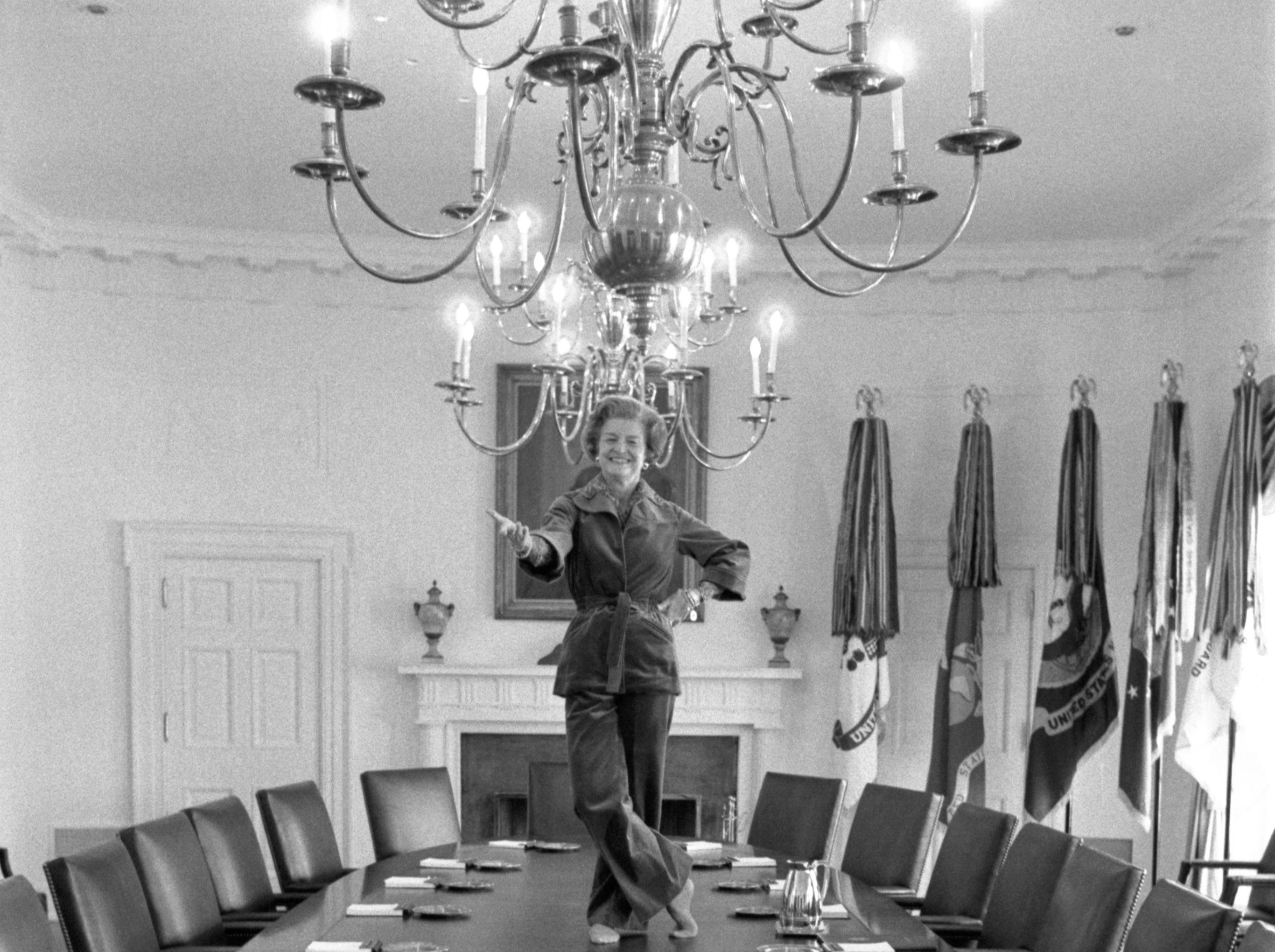 """On her last day in the White House, Betty told photographer David Kennerly, """"I've always wanted to dance on the Cabinet Room table, """" January 19, 1977."""