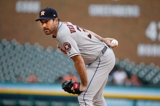 Astros pitcher Justin Verlander eyes up Tigers right fielder Nicholas Castellanos before pitching to him in the first inning on Monday, Sept. 10, 2018, at Comerica Park.