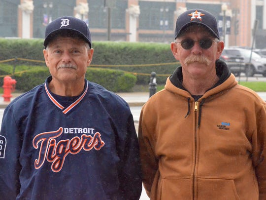 Rob Short, left, and Berry Fisher arrive early for Monday's game between the Detroit Tigers and Houston Astros. Ex-Tigers pitcher Justin Verlander was scheduled to start the game for Houston.