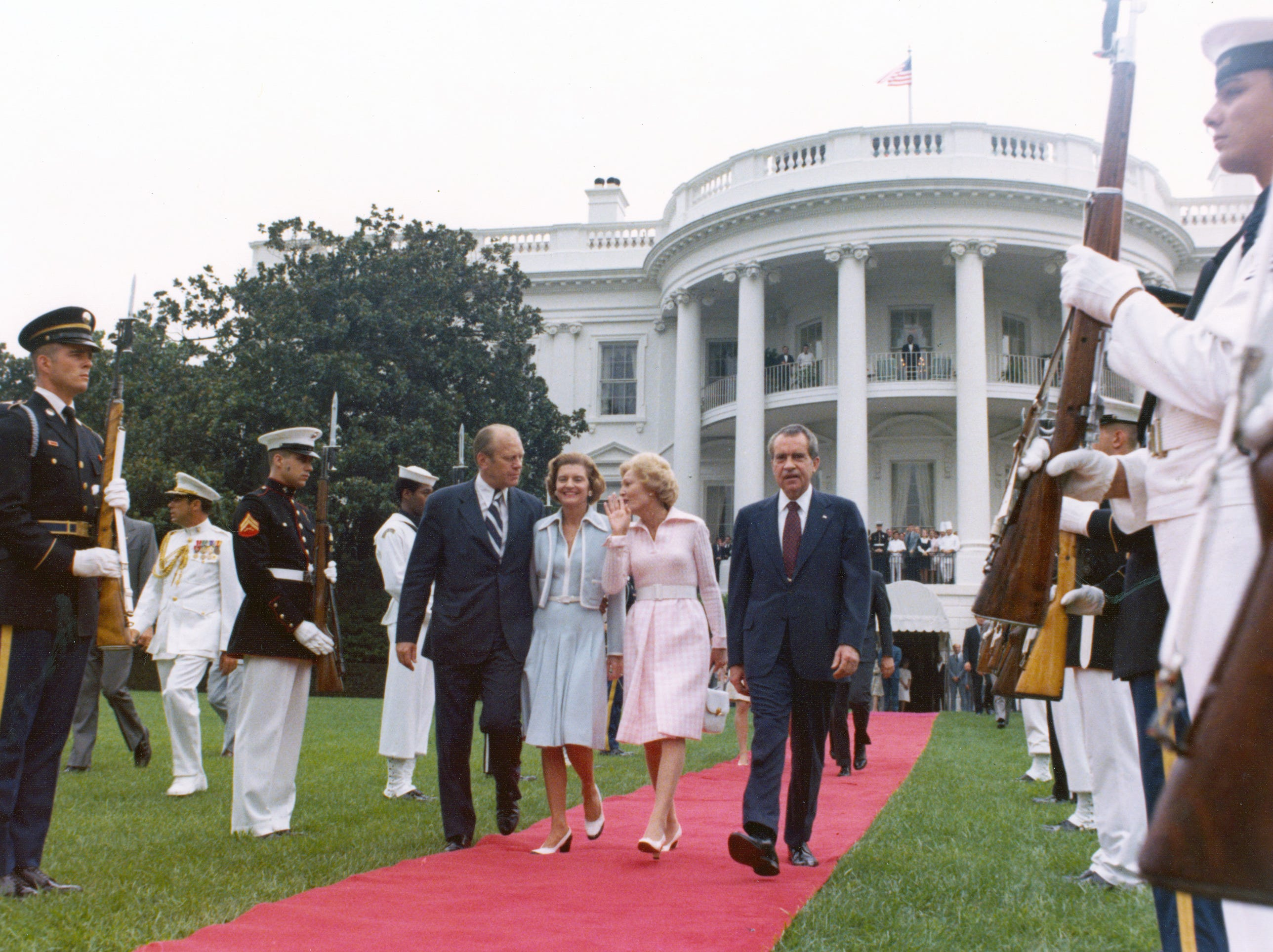 """""""You'll get so you hate these red carpets,"""" Pat Nixon whispered to Betty as the Nixons departed the White House, after President Nixon resigned on August 9, 1974."""