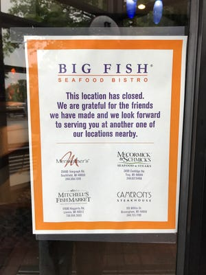 A sign in the window of Big Fish in Dearborn, pictured on September 10, 2018.