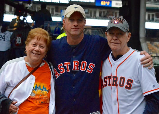 The Levermann family of Sugarland, Texas, are diehard Houston Astros fans. From left: Sara Levermann, with son Kyle, and husband Larry.