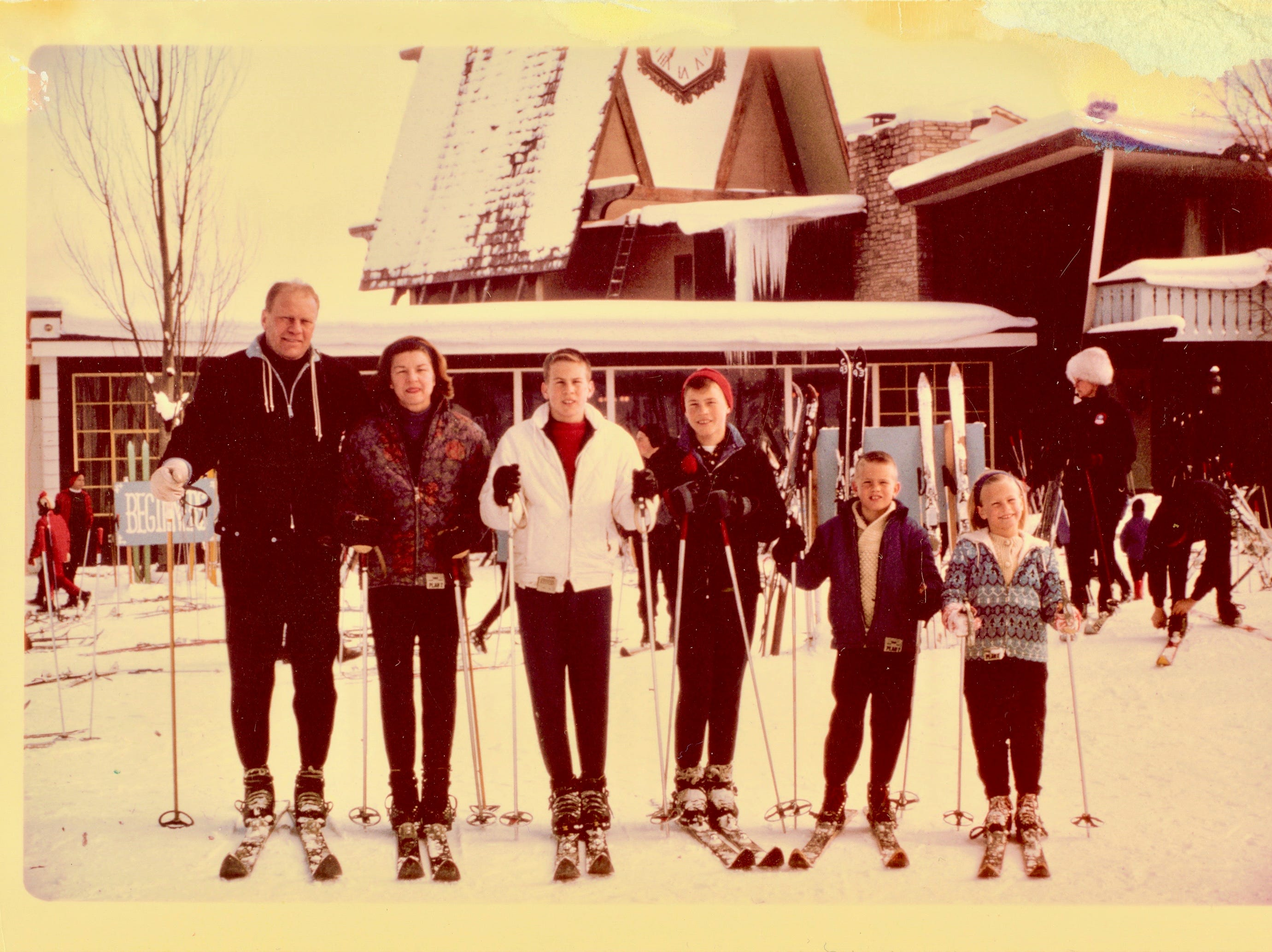 Gerald R. Ford, Betty, Michael, John, Steven and Susan pose at Boyne Mountain in 1965.