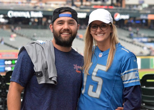 John Martinez and Kristin Rogge, both 27, were among the fans spotted at Comerica Park sporting Detroit Lions gear on Monday, Sept. 10, 2018.