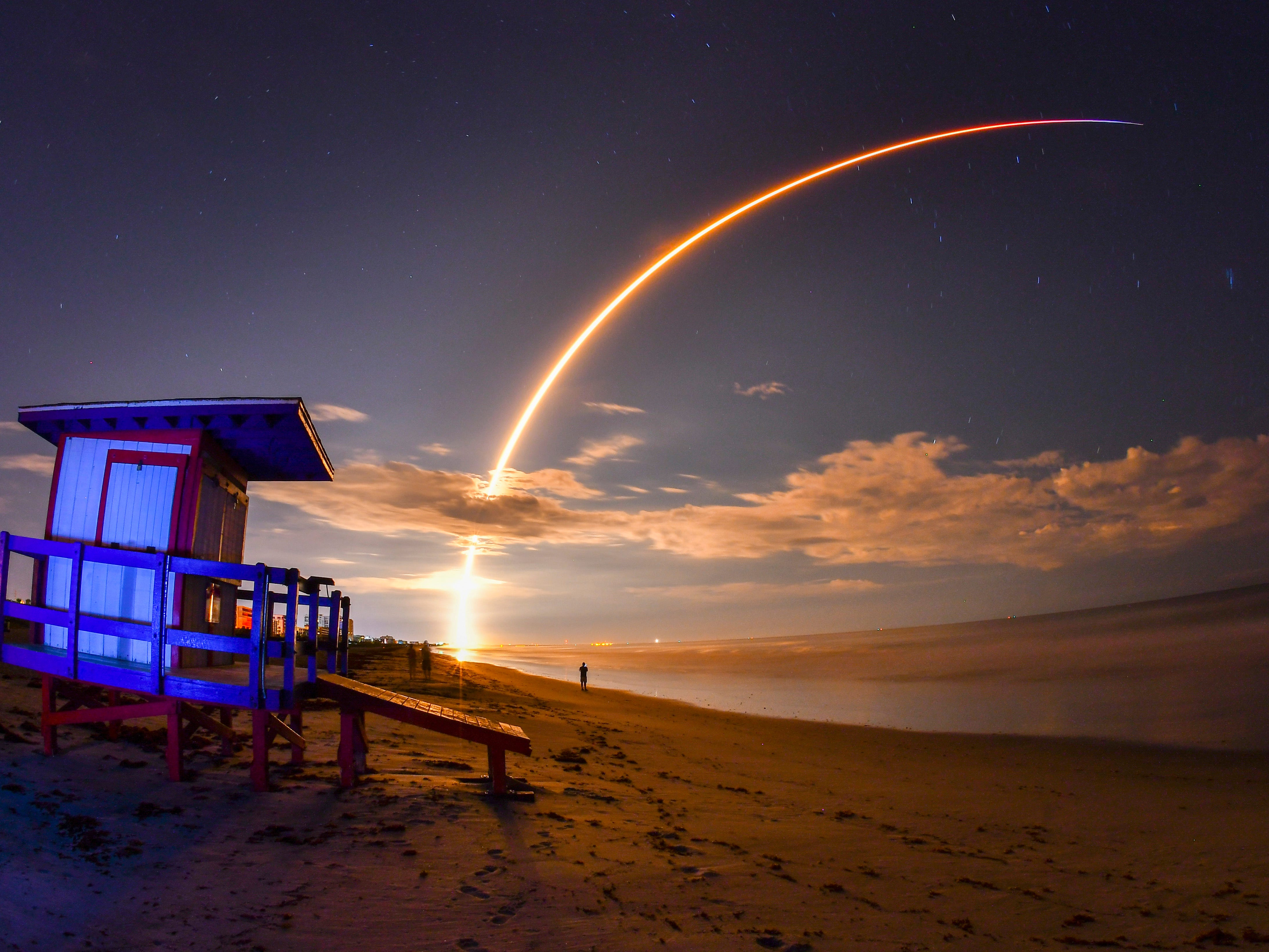 This is a 145-second time exposure of the  launch of Telesat's Telstar 18 Vantage communications satellite in Cocoa Beach, Florida, early Monday, Sept. 10, 2018.