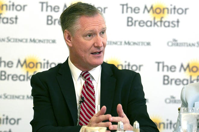 Rep. Steve Stivers, R-Ohio, chairman of the National Republican Congressional Committee, speaks at the Christian Science Monitor Breakfast on Friday, Sept. 7, 2018.