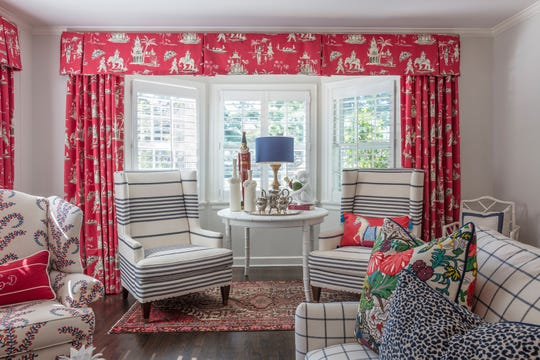 Anne, one of our designers who also loves bright colors and happy patterns, helped Leslie design these marvelous window coverings that addressed Leslie's concerns and showcased the windows beautifully.