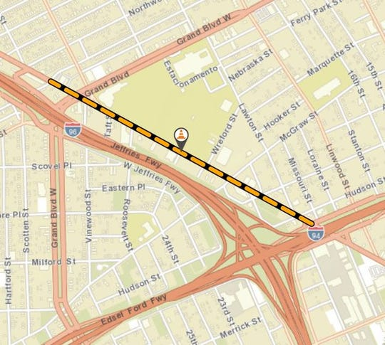 Grand River Avenue will be closed between West Grand Boulevard and I-94
