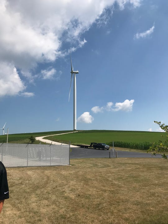 A turbine at the Cedar Ridge Wind Farm.