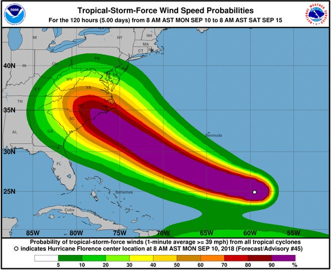 Hurricane Florence wind speed probabilities as of 8 a.m. on Monday, Sept. 10, 2018.