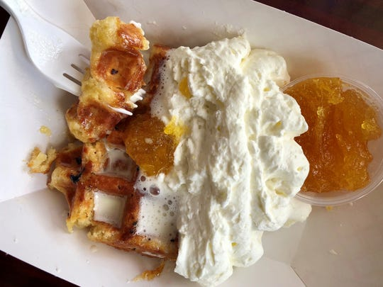 The Liege-style Belgian waffles from Tuckaway Cafe can be served with local mango jam.