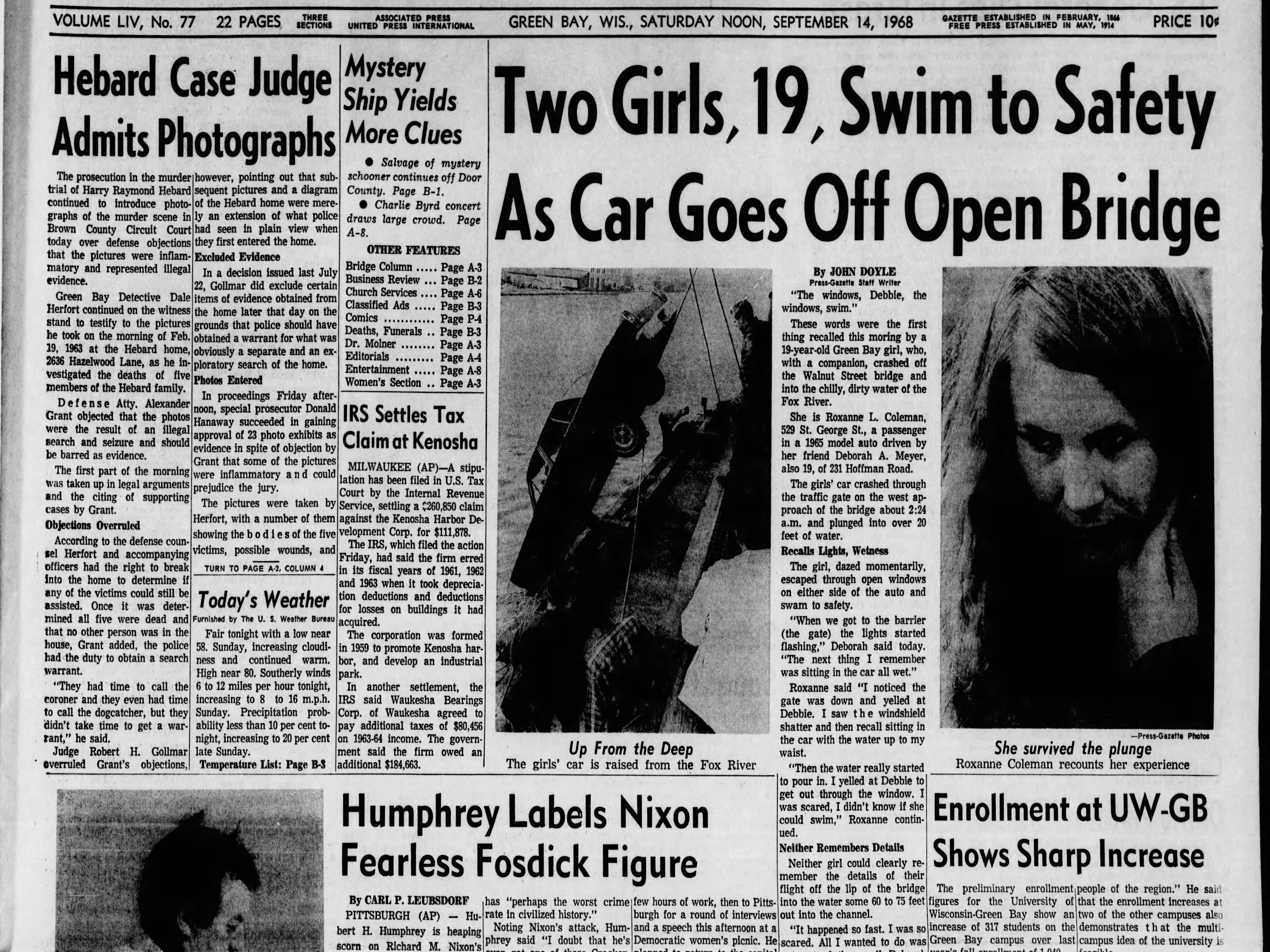 Today in History: Sept. 14, 1968