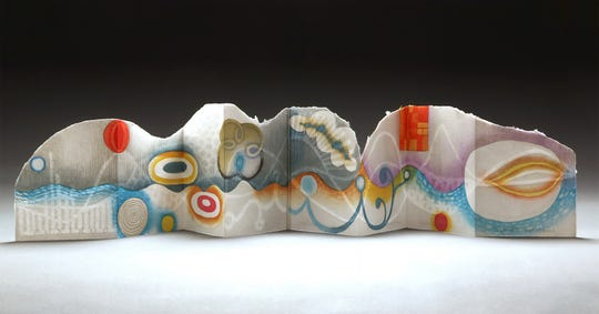 """""""LandEscape"""" by Karen Kunc, part of the """"Abstract Thoughts"""" exhibit at the Miller Art Museum."""