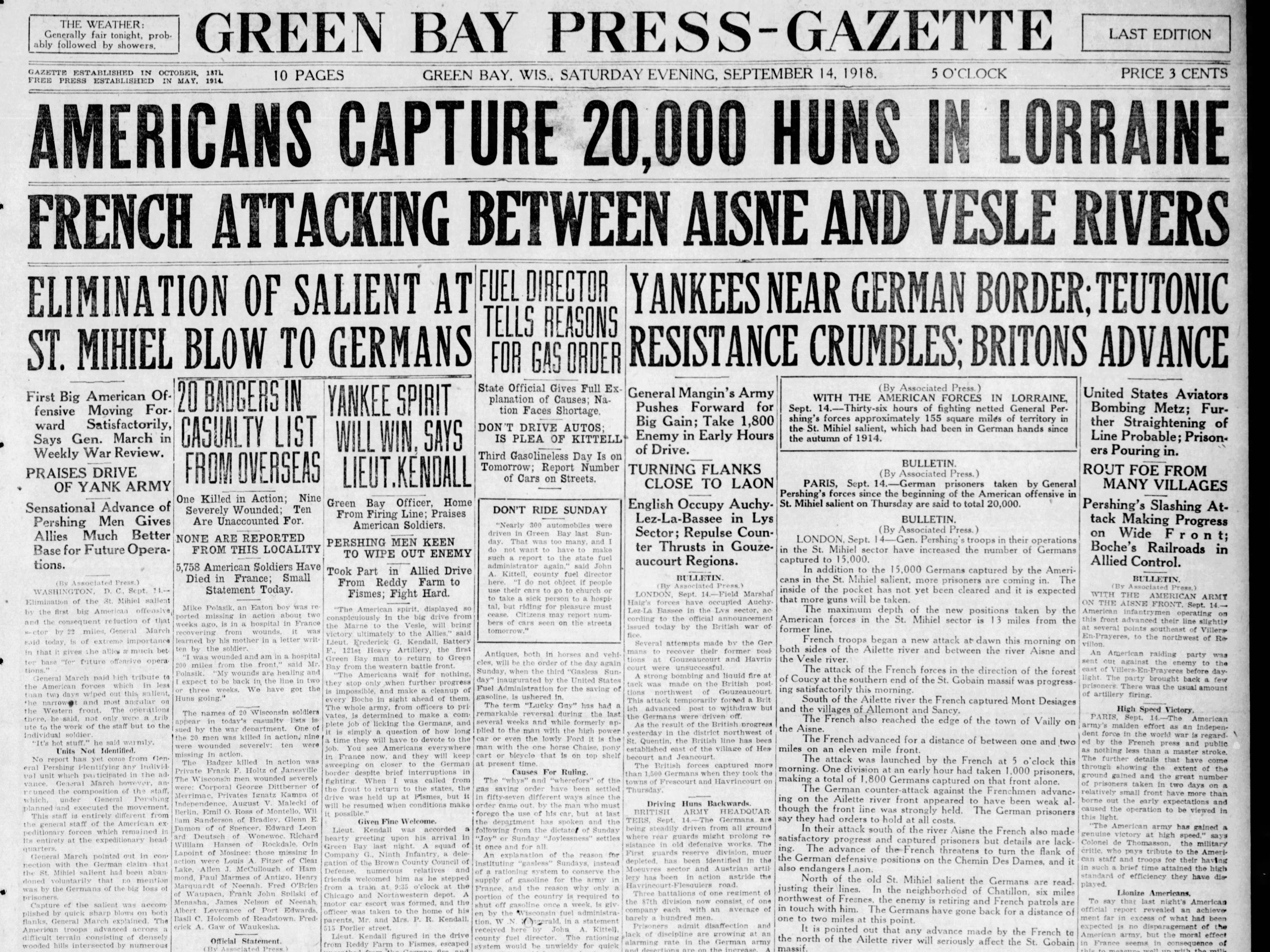 Today in History: Sept. 14, 1918