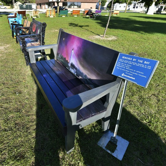 """Artist Kristy Parma painted """"Into the Mystic'' for the Benches By the Bay auction taking place Sept. 15 in association with the annual Harvest Fest in downtown Sturgeon Bay."""