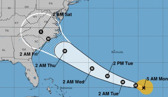 The latest projected path for Hurricane Florence, according to the 5 a.m. Monday update from the National Hurricane Center.
