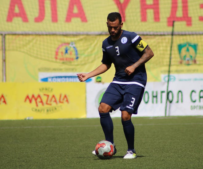 Guam's Shawn Nicklaw controls the ball in the midfield in a match against Macau during the EAFF E-1 Football Championship Round 1 in Ulaanbaatar, Mongolia last week in this file photo. Guam finished 1-1-1 in the tournament and now look forward to preparing for the upcoming AFC Asian Cup and FIFA World Cup qualifiers.