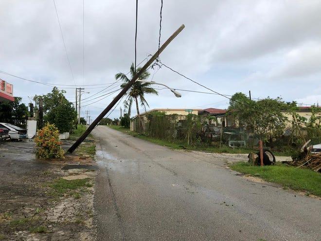A fallen power pole in Yigo after Typhoon Mangkhut on Sept. 11, 2018.