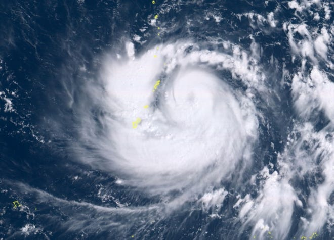 Satellite image at 10:40 a.m. showing Typhoon Mangkhut approaching Guam, CNMI.
