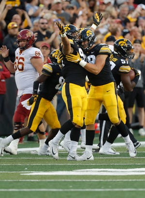 Iowa defensive end A.J. Epenesa recorded a pair of sacks and forced the game's only turnover in a 13-3 win against Iowa State on Saturday.