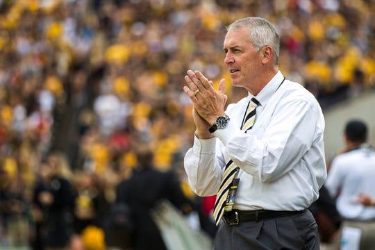 Iowa athletic director Gary Barta cheers during the Cy-Hawk NCAA football game on Saturday, Sept. 8, 2018, at Kinnick Stadium in Iowa City.