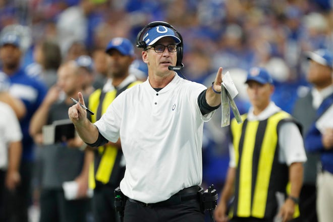 Colts coach Frank Reich directed his team from the sideline Sunday against the Cincinnati Bengals at Lucas Oil Stadium.