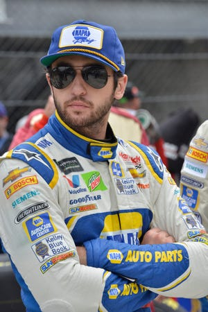 NASCAR Cup Series driver Chase Elliott (9) waited in the pits for the start of the Brickyard 400 at Indianapolis Motor Speedway on Monday.