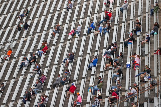 Fans watch the 2018 Big Machine Vodka 400 at the Brickyard at Indianapolis Motor Speedway on Monday, Sept. 10, 2018.