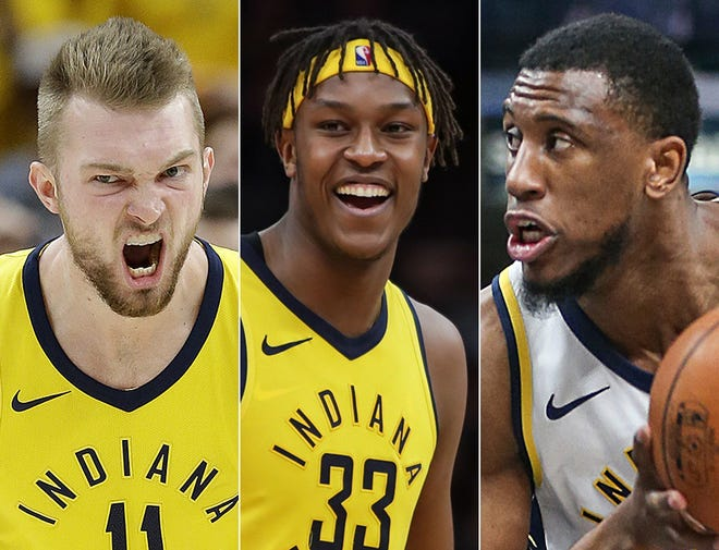 Domantas Sabonis (from left), Myles Turner and Thad Young of the Indiana Pacers.
