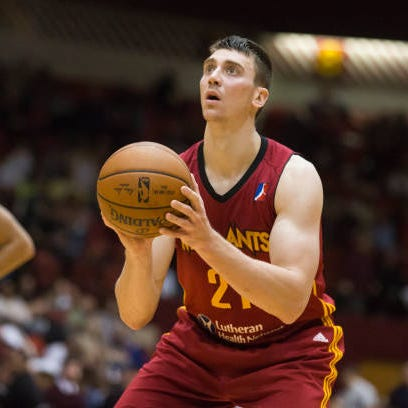 Tyler Hansbrough, of the Fort Wayne Mad Ants, shoots a free throw against the Canton Charge at the Canton Memorial Civic Center on March 4, 2017 in Canton, Ohio.
