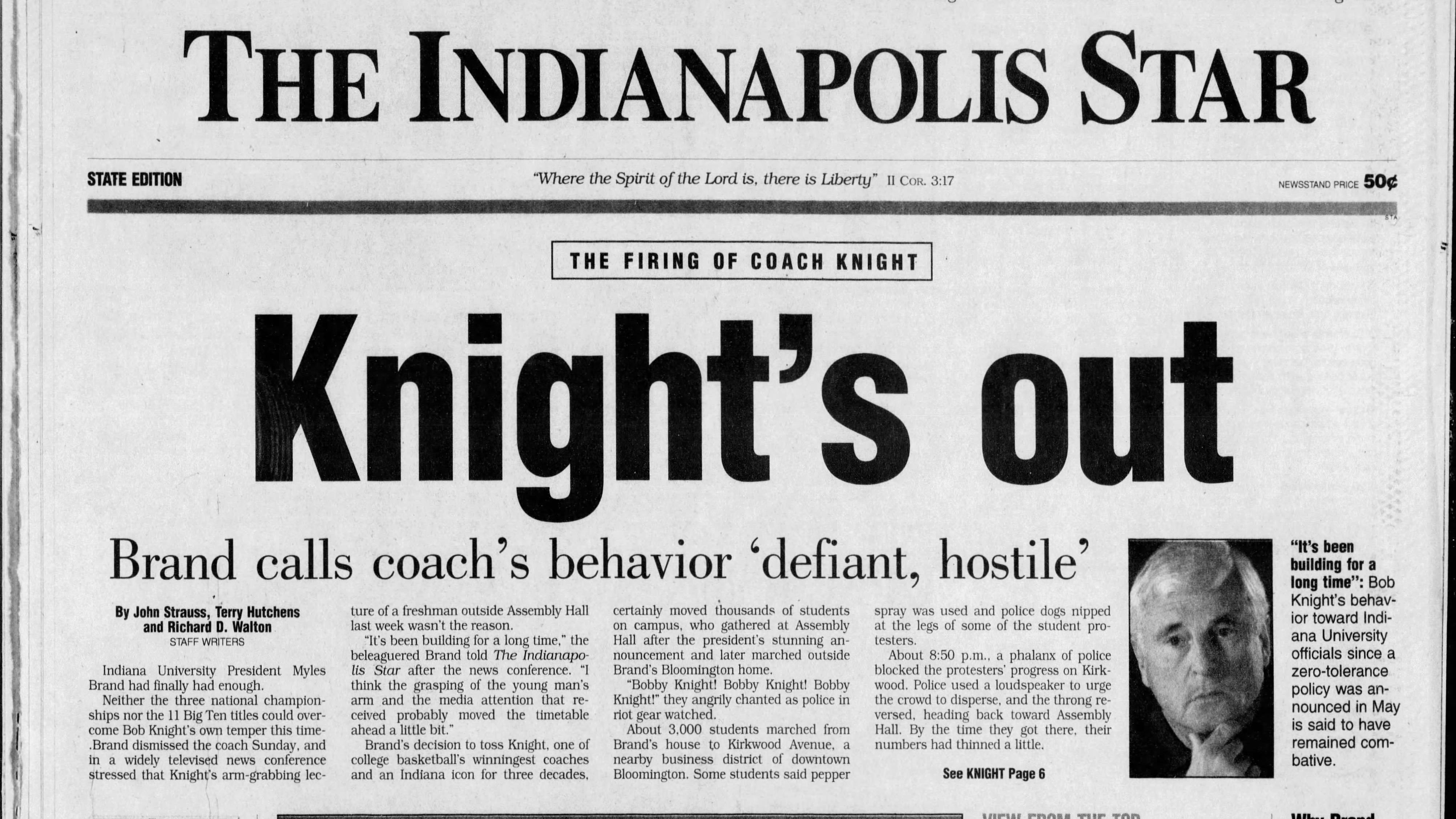 From the archives: The day Bobby Knight was fired