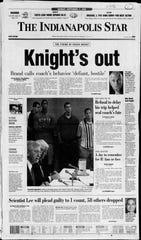 Front page of Indianapolis Star the day after Bobby Knight was fired.