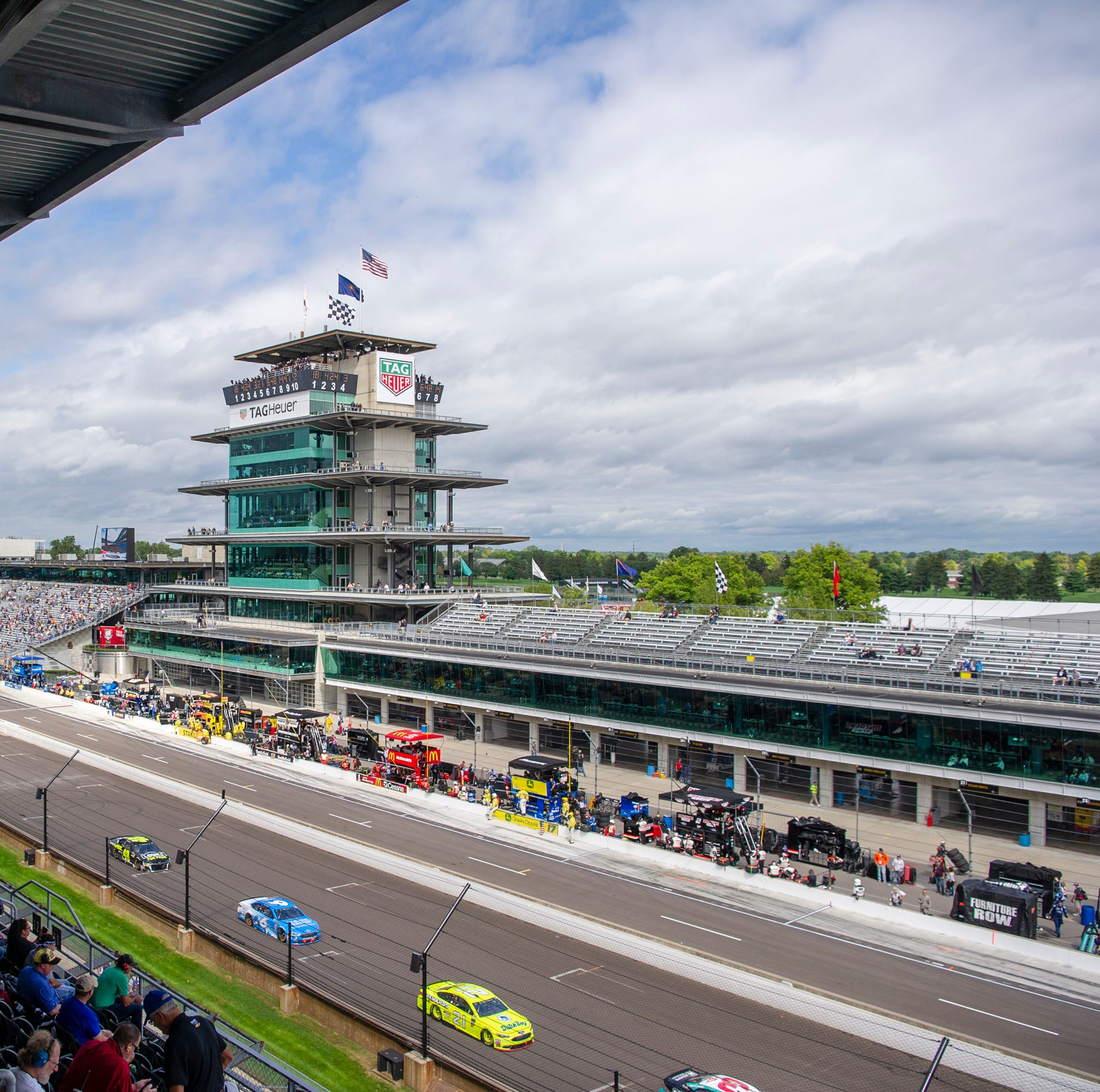 A scene toward the Pagoda during the rain-delayed running of the 25th Brickyard 400 at Indianapolis Motor Speedway Monday, Sept. 10, 2018.