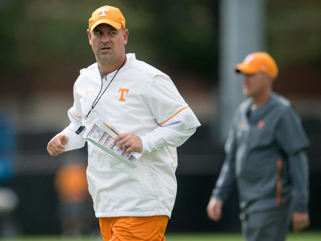 Tennessee Head Coach Jeremy Pruitt at practice on Monday, September 10, 2018.