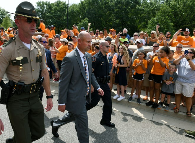 Tennessee Head Coach Jeremy Pruitt during the Vol Walk before their game against East Tennessee State Saturday, September 8, 2018 at Neyland Stadium in Knoxville, Tenn.