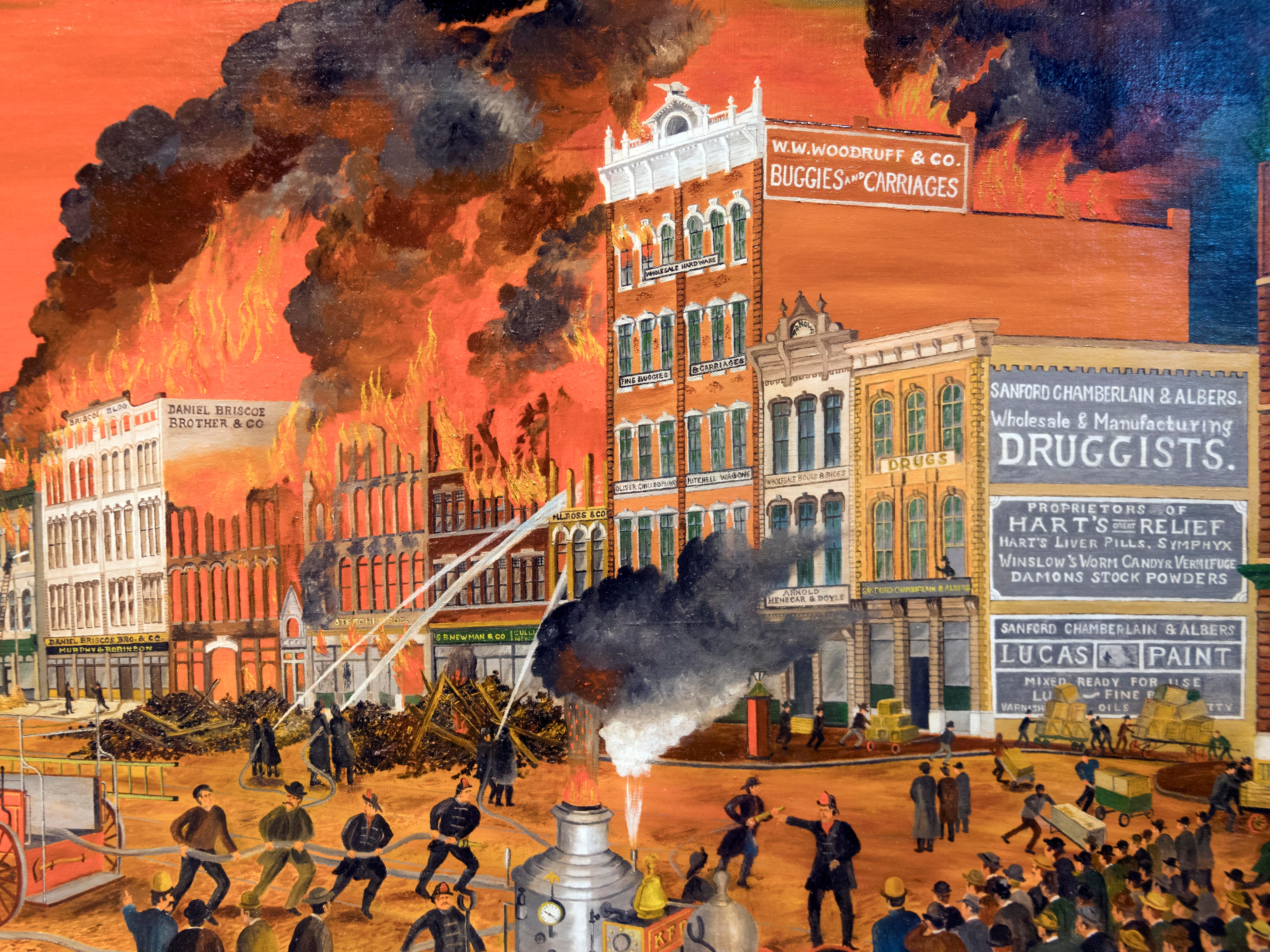 "This Russell Briscoe painting portrays the great ""Million Dollar Fire"" of 1897 that destroyed part of Gay Street."