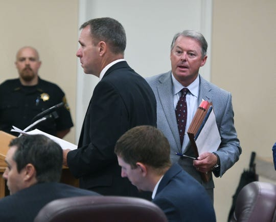 Former Sheriff David Ray chose for his attorney Jeff Daniel, right, to appear for his arraignment in Claiborne County Criminal Court Monday, September 10, 2018. At left is special prosecutor Greg Strong who is handling the case.
