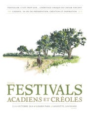 The Festival Acadiens et Creoles poster was designed by artist Randall LaBry
