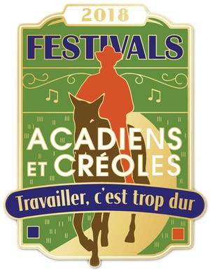 The Festival Acadiens et Creoles pin was designed by artist Randall LaBry