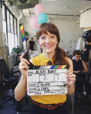"""Actress, filmmaker and musician Victoria Blade is on the set of """"Alien Baby,"""" a short comedy film she wrote, produced and directed."""