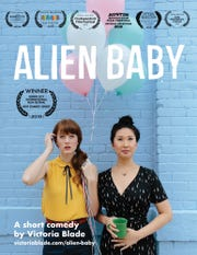 "A poster for the independent film, ""Alien Baby,"" written and produced by actress Victoria Blade."