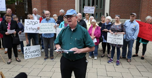 Cal Pfeiffer, of the Survivors Network of those Abused by Priests, issued a statement by the group urging the Archdiocese of Louisville to identify abusers in the church and report those incidents to the authorities.  They were outside the Cathedral of the Assumption.Sep. 10, 2018