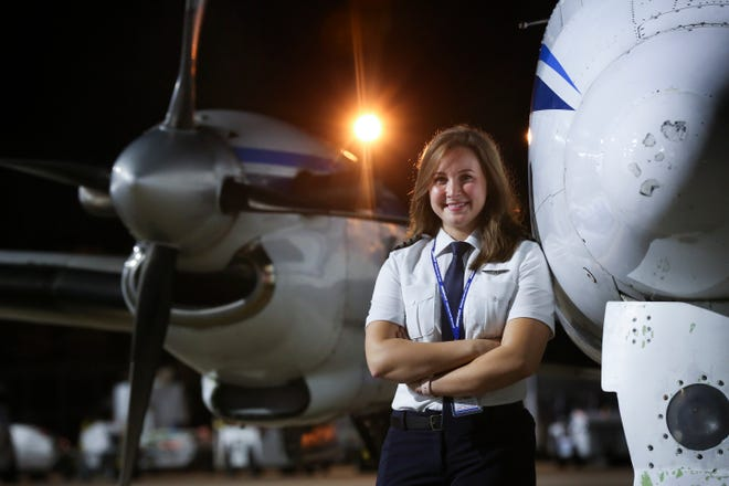 Bailey Gorin, 24, is a former intern at UPS and is now a first officer pilot at Ameriflight.   The industry is facing a shortage of pilots.Sep. 6, 2018