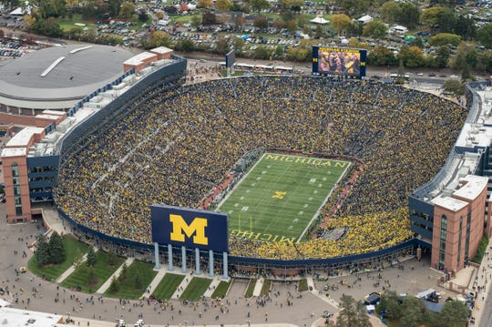 Michigan Stadium, aka The Big House, seats 107,601 on game days.