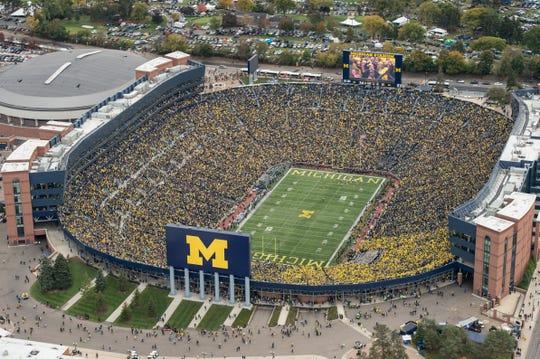Michigan Stadium, aka The Big House, seats 107,601 on game days.