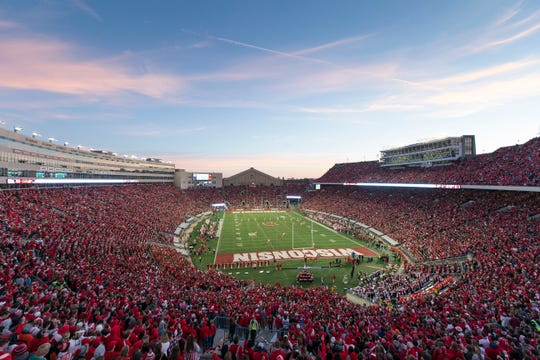 A view of Camp Randall Stadium during a Wisconsin Badgers football game against Illinois on Nov. 12, 2016, in Madison, Wis.  Camp Randall, which opened in 1917, now seats 80,321.