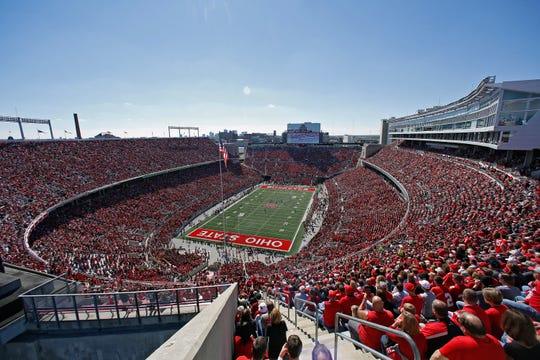 Ohio Stadium, nicknamed the Horseshoe, opened in 1922 and currently holds 104,944 fans.
