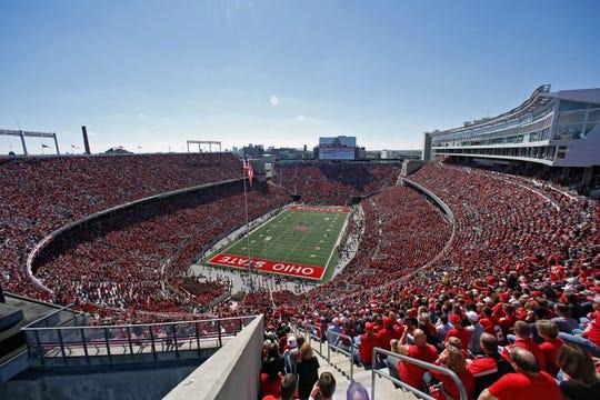 Ohio Stadium, nicknamed the Horseshoe, opened in 1922 and currently holds 104,944 fans.